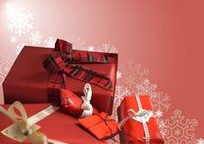 Предпосылка рождества с красными подарками Стоковые Изображения RF