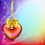 Предпосылка рождества с красным сердцем Стоковые Фото