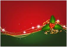 Предпосылка рождества с падубом рождества стоковое изображение rf