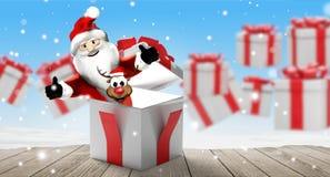 Предпосылка рождества с подарками на рождество со снегом и снежинками 3d-illustration иллюстрация штока