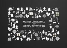 Предпосылка рождества с рамкой белых украшений зимнего отдыха Поздравительная открытка с новым годом иллюстрация штока