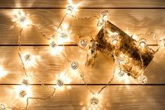 Предпосылка рождества с светами гирлянды и игрушка носят игрушечного Стоковая Фотография