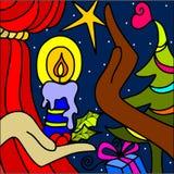 Предпосылка рождества с свечкой бесплатная иллюстрация
