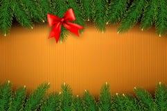 Предпосылка рождества с смычком подарка Стоковая Фотография RF