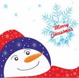Предпосылка рождества с снеговиком Стоковые Фотографии RF