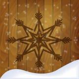 Предпосылка рождества с текстурой снежинки и древесины Стоковое Изображение RF