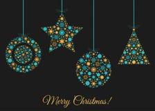 Предпосылка рождества с украшением дерева Xmas Стоковые Изображения RF