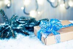 Предпосылка рождества с украшениями и подарочными коробками Стоковая Фотография