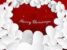 Предпосылка рождества с хлопьями снега, листьями Стоковые Изображения RF