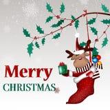 Предпосылка рождества с шаржем оленей рождества Стоковые Изображения RF