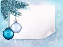 Предпосылка рождества с шариками и ветвями ели. Стоковые Фотографии RF