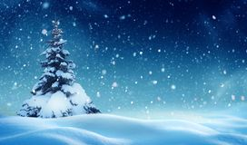 Предпосылка рождества с snow смогите конструировать зиму ландшафта иллюстрации используемую ночой вашу стоковое фото rf