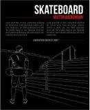 Предпосылка руки вектора рисуя со скейтбордистом и лестницами иллюстрация вектора