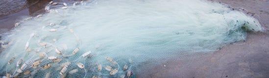 Предпосылка рыболовных сетей на песке Стоковое Изображение