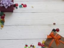 Предпосылка света рождества деревянная Стоковое Изображение