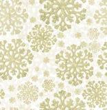 Предпосылка светлых золотых снежинок безшовная Стоковая Фотография RF