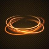 Предпосылка светового эффекта круга золота Линия след зарева свирли волшебная Движение светового эффекта иллюстрация вектора