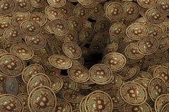 Предпосылка сделанная много bitcoin cryptocurrency - перевод 3d Стоковое Изображение