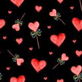 Предпосылка сердец акварели безшовная Розовая картина сердца E Стоковое Фото