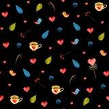 Предпосылка сердец акварели безшовная Розовая картина сердца E Стоковое Изображение