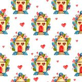 Предпосылка сердец акварели безшовная Розовая картина сердца E Стоковая Фотография