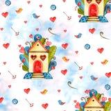 Предпосылка сердец акварели безшовная Розовая картина сердца E Стоковые Изображения