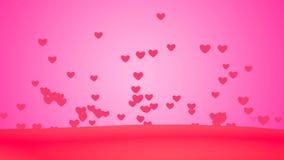 Предпосылка сердца летания петли творческая Соединенные плавая сердца сток-видео