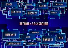 Предпосылка сети, бинарная технология монтажной платы будущая, голубая предпосылка концепции безопасностью кибер, высокоскоростно иллюстрация штока