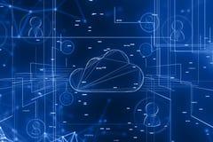 Предпосылка сети компьютера и людей облака иллюстрация штока