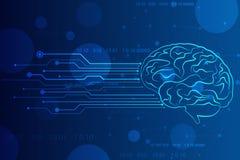 Абстрактный искусственный интеллект Предпосылка сети технологии, творческий мозг r иллюстрация вектора