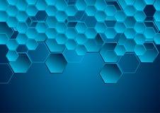 Предпосылка синего высок-техника геометрическая абстрактная Стоковые Фотографии RF