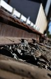 Предпосылка следа поезда железной дороги промышленная, старое железнодорожное изображение стиля года сбора винограда транспорта р стоковая фотография