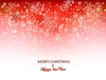 Предпосылка снежинок рождества красная для карточки приглашения или других знамен также вектор иллюстрации притяжки corel иллюстрация вектора
