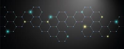 Предпосылка сота голубая сияющая техническая иллюстрация вектора