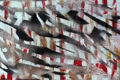 Предпосылка старой стены с unpainted покрашенными линиями Восковка с лентой для маскировки Красные черные и голубые слои стоковые изображения