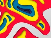 предпосылка стиля отрезка бумаги 3d Формы с тенью в белом и желтой, красный, голубой Papercraft наслоило искусство Дизайн для Стоковое фото RF