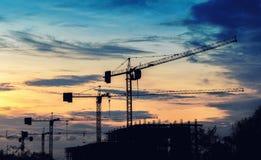 Предпосылка строительной площадки силуэта Стоковое фото RF