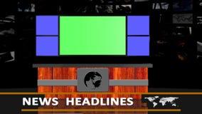 Предпосылка студии заголовков новостей - зеленый экран иллюстрация штока