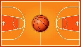 Предпосылка суда баскетбола деревянная Стоковая Фотография