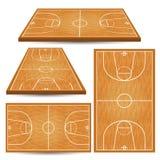 Предпосылка суда баскетбола деревянная Стоковые Изображения RF