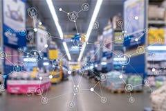 Предпосылка супермаркета маркетинга розницы структуры корзины запачканная электронной коммерцией бесплатная иллюстрация