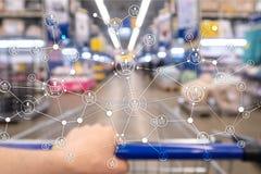 Предпосылка супермаркета маркетинга розницы структуры корзины запачканная электронной коммерцией стоковая фотография rf