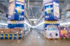 Предпосылка супермаркета маркетинга розницы структуры корзины запачканная электронной коммерцией иллюстрация штока