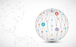 Предпосылка сферы абстрактной технологии Концепция глобальной вычислительной сети бесплатная иллюстрация