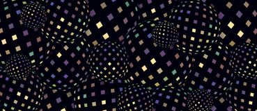 Предпосылка сфер 3d желтой мозаики сирени Hologram голубая Темная радужная роскошная геометрическая картина иллюстрация вектора