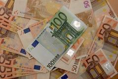 Предпосылка счетов евро Стоковые Фотографии RF