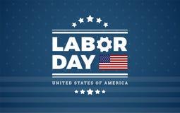 Предпосылка США логотипа Дня Трудаа - голубая предпосылка с звездами, нашивка стоковое изображение