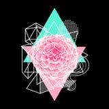 Предпосылка с абстрактными геометрическими формами и цветком Линия печать искусства иллюстрация вектора