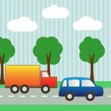 Предпосылка с автомобилем и тележкой для scrapbook Стоковая Фотография RF