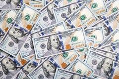 Предпосылка с американцом денег 100 счетов доллара Backg денег Стоковые Изображения RF